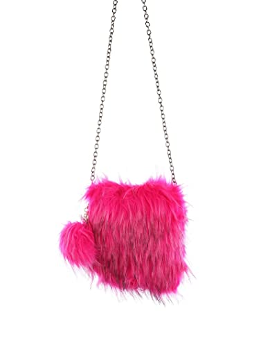Image Unavailable. Image not available for. Color  Fuchsia Pink Faux Fur  Crossbody Shoulder Handbag ... 40b715f95f521