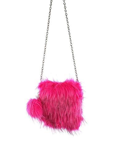 7f8c0f9b7af7 Image Unavailable. Image not available for. Color  Fuchsia Pink Faux Fur  Crossbody Shoulder Handbag ...