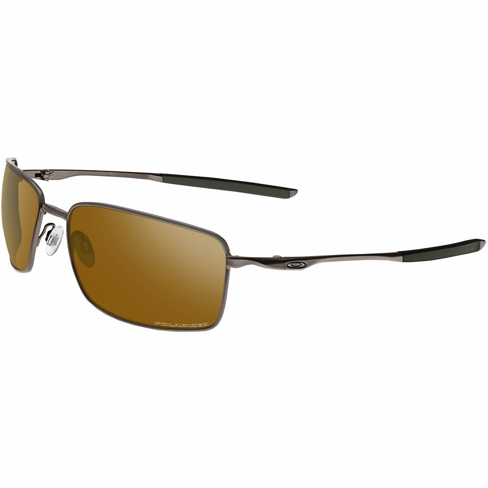 Oakley Men's OO4075 Square Wire Rectangular Metal Sunglasses, Tungsten/Tungsten Iridium Polarized, 60 mm by Oakley