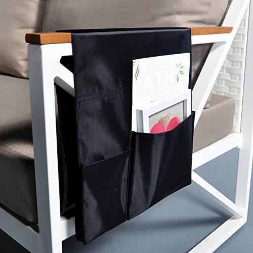 Extended TV Remote Control Organizer Holder, Drapes Over Recliner Chair Armchair Caddy Pocket, Great for Ipad, Remote, Game Controller, Newspapers, Books, Pens, Magazine Holder (36.6''L 12.6''W) (Pottery Barn Factory Store)