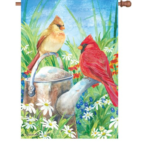 Premier Designs PD57034 Summer Cardinal House Flag (Premier Flag 2 Sided Banner)