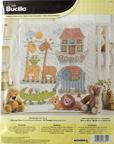 Bucilla Baby Stamped Cross Stitch Crib Cover Kit, 34 by 43-Inch, 46359 Two by Two