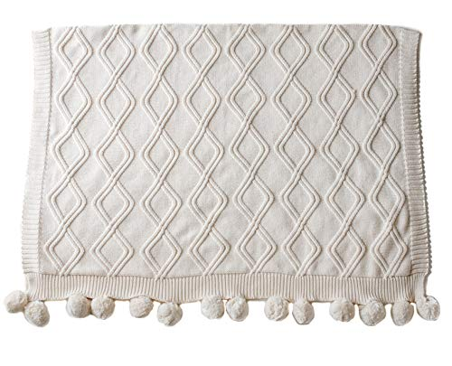 (Linen Perch Luxury Cable Knit Pom Pom Baby Nursery Blanket - Premium Boy or Girl Baby Shower Gift in Deluxe Gift Box - Unisex Cotton Knit Toddler Blanket - Baby Décor Blanket - 45 x 35 inches (Cream))