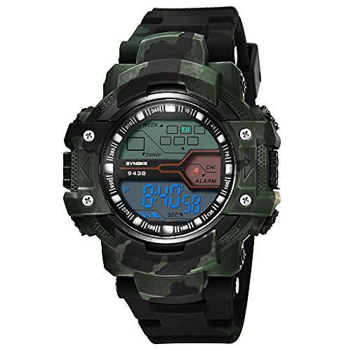 Amazon.com: XBKPLO Men Digital Motion Watch,Waterproof Resin strap Camouflage Outdoor LED Backlight Simulated Machinery (Army Green): Clothing