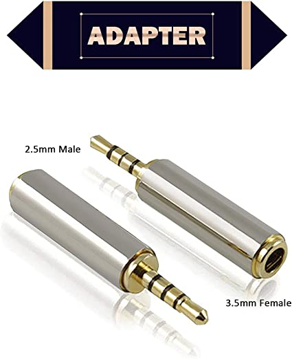 4x Gold 3.5mm Mono Female to 2.5mm Male Stereo Audio Adapter Headphone Converter