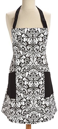 [Mago 100% Cotton, Fashion Printed Damask Women Kitchen Apron, Adjustable Neck Strap & Waist Ties, Machine Washable, Front Pockets] (Tie Apron)