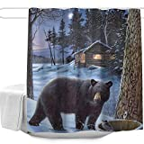 Black Bear Shower Curtain Colorful Star Nature Forest Black Tan Bear Winter Snow Design Shower Curtain,Waterproof&Antibacterial&Eco-Friendly Made of 100% Polyester Fabric,Non Toxic, Odor Free, Rust Proof Grommets 60