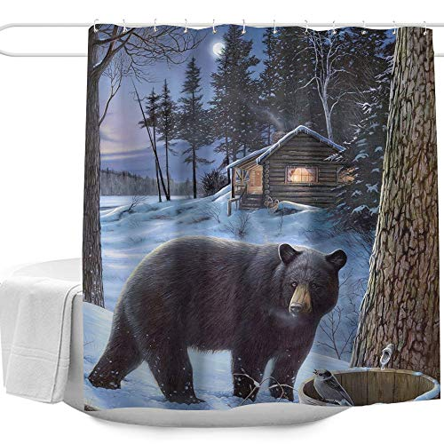 Colorful Star Nature Forest Black Bear Winter Snow Design Shower Curtain Made of 100% Polyester Fabric Machine Washable Waterproof Durable with Hooks 60