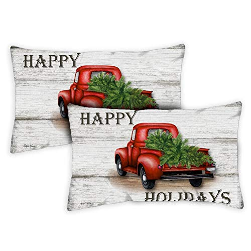 Toland Home Garden Decorative Red Truck Holidays Winter Christmas Xmas Tree Text Quote Word Saying 12 x 19 Inch Pillow Case (2-Pack) from Toland Home Garden