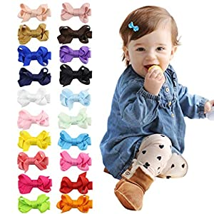 DEEKA Tiny No Slip Hair Clip for Baby Girls Toddlers Fully Lined 2″ Ribbon Hair Bow Alligator Clips Hair Accessories Pack of 20
