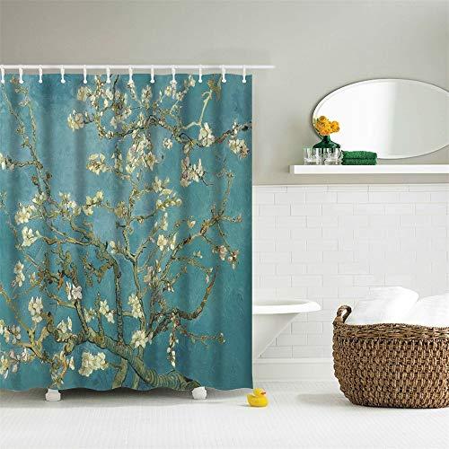 IcosaMro Van Gogh Shower Curtain for Bathroom with Hooks, Almond Blossom Flowers Decorative Long Cloth Fabric Shower Curtain Bath Decorations- 71