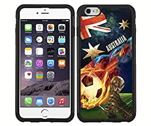 Blue, Red, and White Grunge Australia Team Flag with Colorful Fiery Soccer Ball RUBBER Snap on Phone Case (iPhone 6) by supermalls