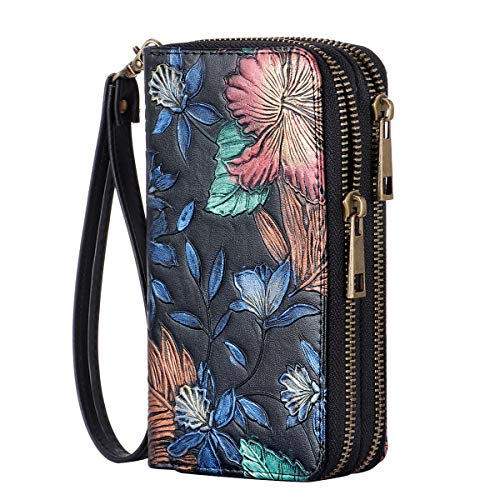 HAWEE Cellphone Wallet Dual Zipper Wristlet Purse with Credit Card Case/Coin Pouch/Smart Phone Pocket Soft Leather for Women or Lady, Embosing Orchid