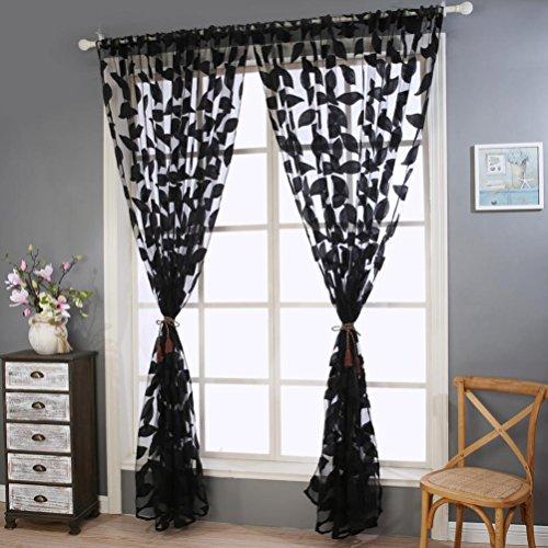 Botrong 2pcs Leaf Tulle Door Window Curtain Drape Panel Sheer Scarf Valances Black
