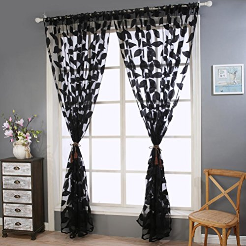 Botrong 2pcs Leaf Tulle Door Window Curtain Drape Panel Sheer Scarf Valances (black) (Curtain Lace Black Panels)
