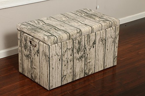 Oliver and Smith  Cloth Storage Ottoman With – 3 Ottomans & 2 Stools – 33″ x 17.5″ x 18.5″ – 1343 Barn Door Wood