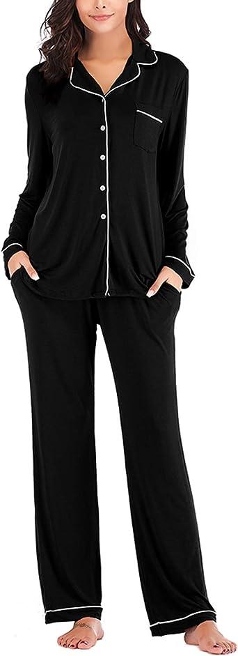 MINTLIMIT Pijama de 2 piezas para mujer, con botones hacia abajo, camisón informal, pijama de manga larga y pantalón (tallas S-XXL)