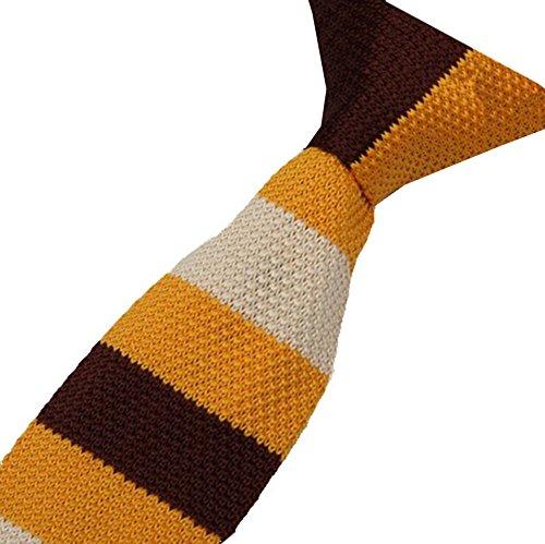 Cravatemince pour homme Rayure Marron Jaune Beige bout carré de 6cm