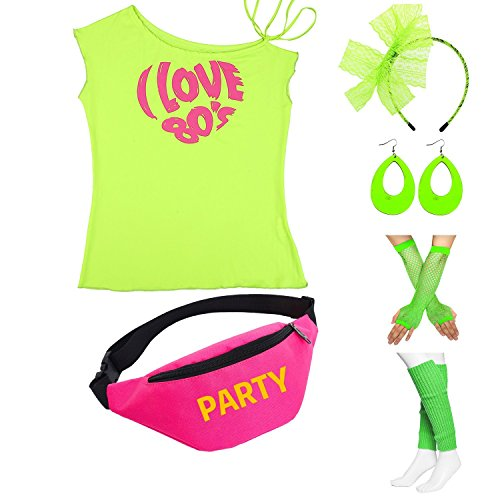Womens 80s Accessories, I Love The 80's / 80s Pop/Sexy Lips Shoulder T-Shirt Outfit/Tutu Skirt/Neon Fanny Packs for 1980s Party Costume,Bag1,Green Love,L -
