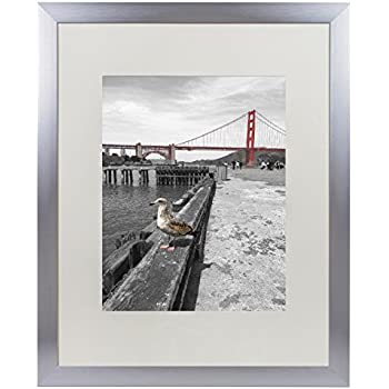 Frametory, 16x20 Metal Picture Frame Collection, Aluminum Silver Photo Frame with Ivory Color Mat for 11x14 Picture & Real Glass