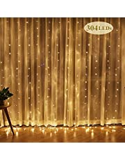 Cortina de Luces, Luz Cadena, Luz de Cortina, LED Guirnaldas luminosas, Cadena De Luces, 8 Modos de Luz Perfecto para Decoración de Navidad, Festival,Fiestas, Casa,Jardín,Boda, 3*3m Blanco Cálido