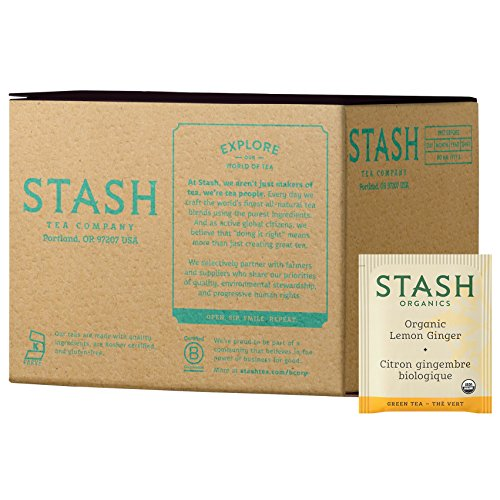 Stash Tea Organic Green Tea Lemon Ginger, 100 Count Tea Bags in Foil (packaging may vary) Individual Green Tea Bags for Use in Teapots Mugs or Cups, Brew Hot Tea or Iced Tea