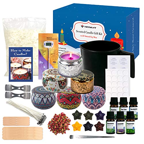 YRYM HT Candle Making Kit for Adult - Easy to Make Candle Soy Wax Gift Kit Include Wax, Candle Dyes, Fragrance Oil, Candle Tins & More Gift Set