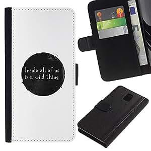 Stuss Case / Funda Carcasa PU de Cuero - MENSAJE LO SALVAJE - Samsung Galaxy Note 3 III