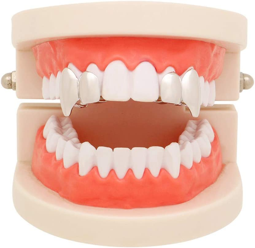 1Pair//2 Pieces 14K Plated Gold Grillz Top Mouth Teeth Hip Hop Teeth Plain Top Tooth Single Grill Cap for Teeth Mouth Party Fashion Accessories Teeth Grills Jewelry