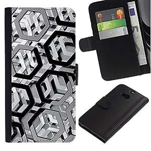 All Phone Most Case / Oferta Especial Cáscara Funda de cuero Monedero Cubierta de proteccion Caso / Wallet Case for HTC One M8 // Metal Pattern