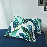 Vintage Leaves Print Queen Pillowcases Luxury Floral Pillow Shams Standard Queen Smooth Soft Long Staple Cotton PillowCovers for Teens Girls Adults, Buttons Closure, (2 Pieces, 20''×26'')