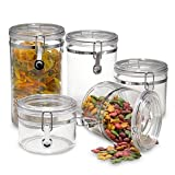 Oggi™ Acrylic 5-Piece Canister Set with Chrome Locking Clamps
