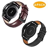 Gear S3 Frontier/Galaxy Watch (46mm) Bands with Quick Release Pins, 22mm Genuine Leather Replacement Smart Watch Band for Samsung Gear S3 Classic Sports Smartwatch (Black & Brown with Black Clasp)