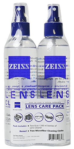 Zeiss Lens Care Pack - 2 - 8 Ounce Bottles of Lens Cleaner, 2 Microfiber Cleaning Cloths (Carl Zeiss Lens Cleaner)