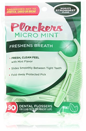 (PLACKERS Micro Mint Freshens Breath, Dental Flossers Mint 90 Each (Pack of 4) - Packaging may vary)