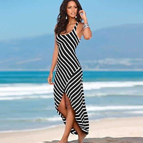 vestidos verano mujer baratos casual 2017 Switchali sin mangas vestidos de fiesta para bodas largos elegantes mujer maxi el vestido de novia de las mujer rayas Suelto Vestido mujer Negro