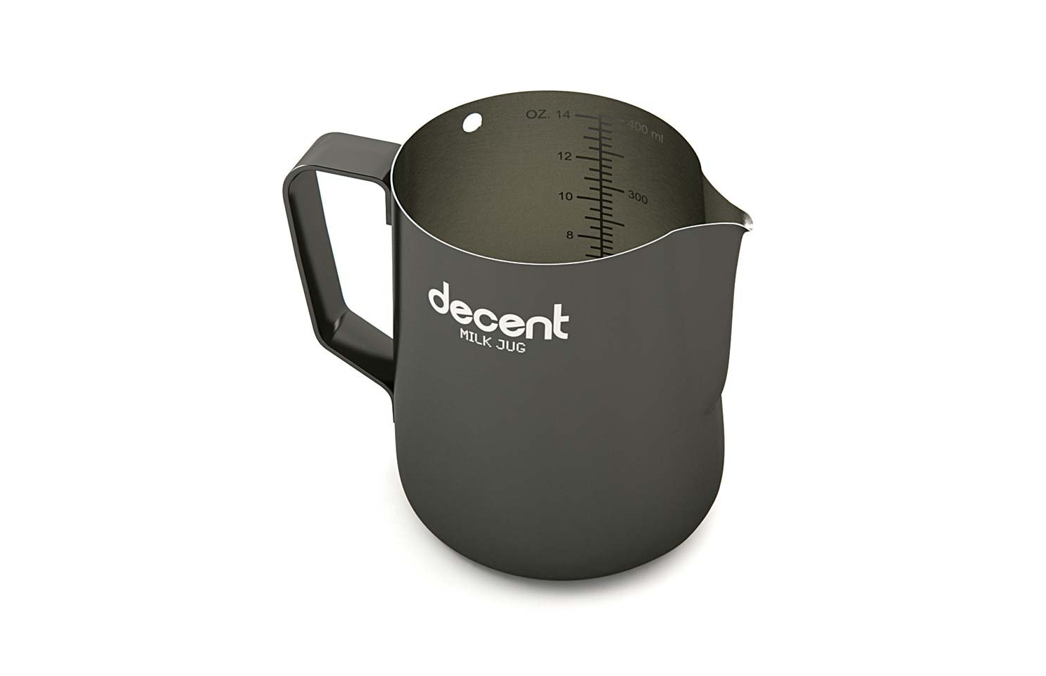 Milk Jug with classic spout (350ml with thermometer hole) by Decent Espresso