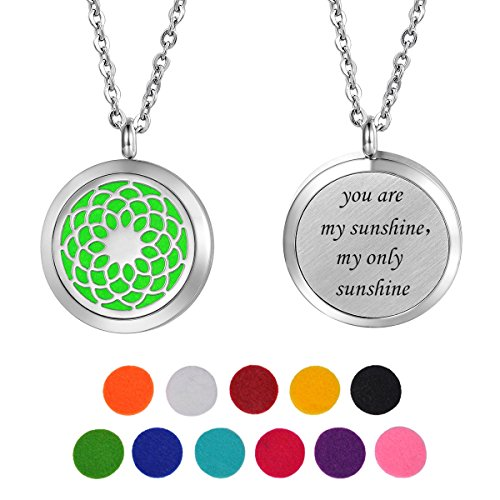 HooAMI Aromatherapy Essential Oil Diffuser Necklace - Stainless Steel Pendant Locket Jewelry,12 Refill Pads ()