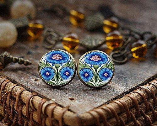 (Cornflower stud earrings, Blue flower stud earrings, William Morris illustration jewelry, Victorian art photo earrings, Blue tile earrings)