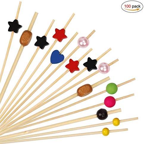 Cocktailspieße Multicolor Bambusspieße Party Picker Holz Zahnstocher Cocktail Sticks für Cocktails BBQ Kindergeburtstage 100 Stück