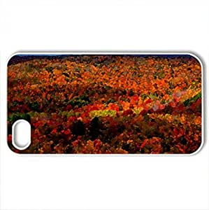 Blazing Autumn In Michigan - Case Cover for iPhone 4 and 4s (Forests Series, Watercolor style, White)