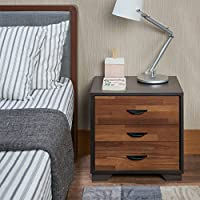 ComfortScape Contemporary 3 Drawer Bedroom Night Stand with Open Shelf for Storage, Walnut, Small