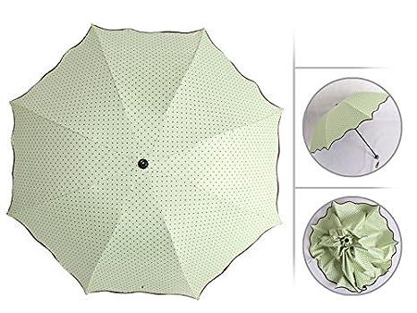 Belladice® Lunares Volante Brim Doble Uso Dom Paraguas Lluvia Refugio Anti-uv Negro Vinilo