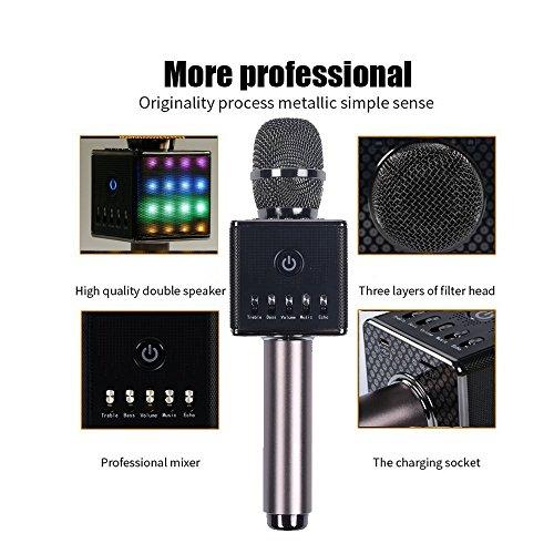 Altavoz Micrófono de karaoke Bluetooth con LED + bolsa con cierre de transporte de baile, calidad de sonido Superior, de...
