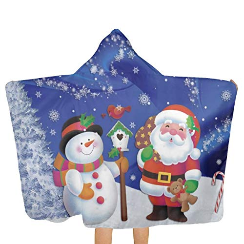 (QUZtww Children's Poncho Towel Christmas Snowman Santa Claus Winter Snowflakes Tree Pattern for Bath for Boys Girls Microfiber One Side Print Easy to Clean with Cap and Buttons)