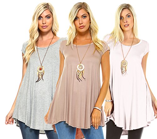 Isaac Liev Women's 3-Pack Flowy Short Sleeve Tunic Top (X-Large, White, Mocha & Heather Gray)