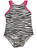 Baby Buns - Toddler Girls One Piece Zebra Swimsuit, Black, White 30462-4T