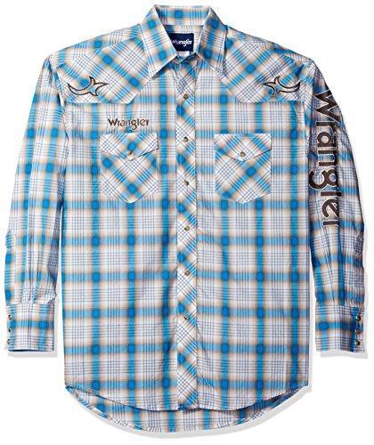 Wrangler Men's Logo Two Pocket Long Sleeve Woven Shirt, K...