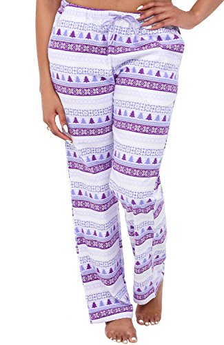 Womens Flannel Pajama Pants, Long Cotton Pj Bottoms, XL Purple Nordic Christmas (A0703Q62XL) ()