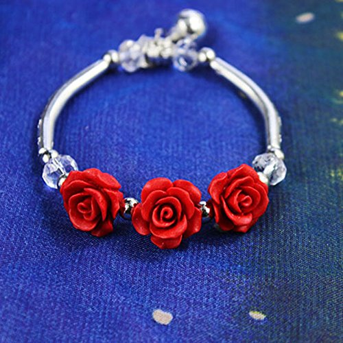 Alloy Tibetan silver bracelet female red cinnabar lacquer carving roses bracelets jewelry national wind jewelry Attractions